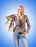 The young woman with the bags after shopping Stock Images