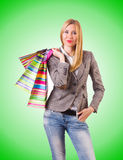 Young woman with bags after shopping Stock Photography