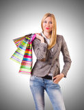 Young woman with bags after shopping Stock Photo