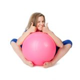 Young woman with the ball Stock Photography