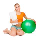 Young woman with ball Stock Image