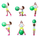 The young woman with ball exercising on white Stock Photo
