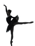 Young woman ballerina ballet dancer dancing silhouette stock photography