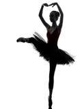 Young woman ballerina ballet dancer dancing silhouette Stock Images