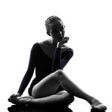 Young woman ballerina ballet dancer stretching war Royalty Free Stock Images