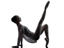 Young woman ballerina ballet dancer stretching warming up  silho Royalty Free Stock Photography