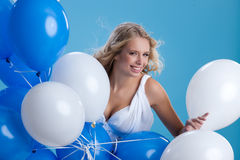 Young Woman With Balloons Royalty Free Stock Photo