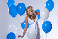 Young Woman With Balloons Royalty Free Stock Photography