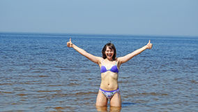 Young woman on Baltic Sea. Stock Photo