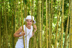 Young woman in the bamboo thickets. Madeira island Royalty Free Stock Photography