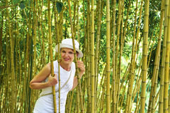 Young woman in the bamboo thickets. Madeira island Royalty Free Stock Image