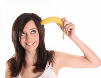 Young woman with banana Stock Image