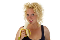 Young woman with banana Royalty Free Stock Images