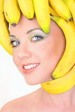 Young woman with banana hair style Royalty Free Stock Photos
