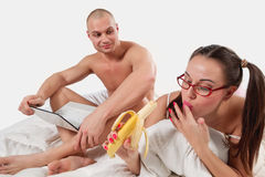 Young womaN with banana Royalty Free Stock Photography