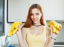 Young woman with bananas Royalty Free Stock Photos