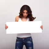 Young woman with baner Royalty Free Stock Photography