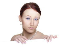 Young woman with banner Stock Photo