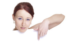 Young woman with banner Royalty Free Stock Photo