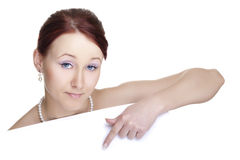 Young woman with banner Royalty Free Stock Photos