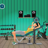 Young woman with barbell flexing muscles in gym. Flat cartoon ve. Ctor illustration stock illustration