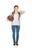 Young woman with basket ball. Stock Images