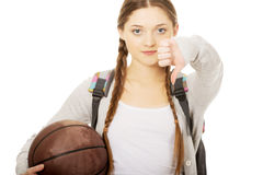 Young woman with basket ball. Royalty Free Stock Image