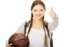 Young woman with basket ball. Royalty Free Stock Images