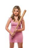 Young woman with a bat Stock Photos