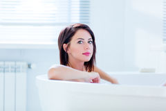 Young woman in bath Royalty Free Stock Images