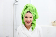 Young woman after bath or shower Stock Image