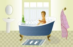 Young woman in the bath tub Stock Photography