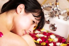 Young Woman bathing Stock Image