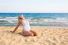 Young woman after bathing Royalty Free Stock Image