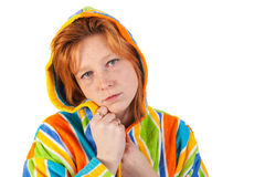 Young woman in bathrobe Stock Photography