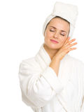 Young woman in bathrobe enjoying freshness Royalty Free Stock Photography