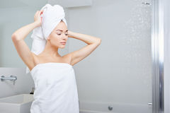 Young Woman in the Bathroom Royalty Free Stock Photos