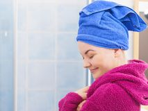 Woman in towel after shower royalty free stock images