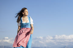 Young woman in bavarian traditional dress dirndl Stock Images