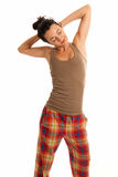 Young woman be sleepy wearing pajamas isolated Royalty Free Stock Photography