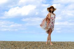 Young woman on the beach. Royalty Free Stock Photography