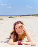 Young woman on a beach. Royalty Free Stock Photography