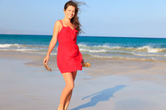 Young woman on a beach Royalty Free Stock Photo