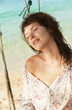 Young woman on a beach. Stock Image