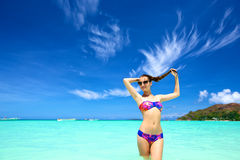 Young woman on a beach Stock Photography