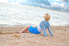 Young woman on the beach. Have a rest Royalty Free Stock Photography