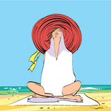 Young woman on the beach, relaxation and meditation stock illustration