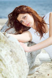 Young woman on beach summer holiday Royalty Free Stock Image