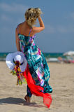 Young woman on the beach in summer Royalty Free Stock Images