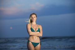 Young woman on beach royalty free stock photo